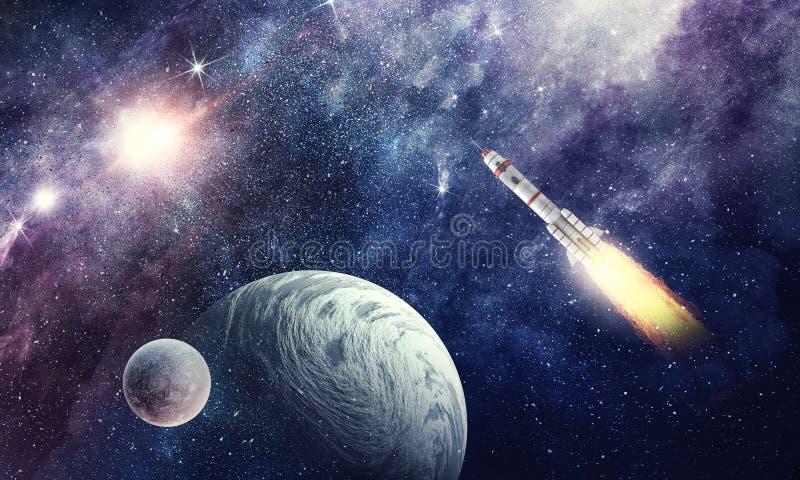 Raket in ruimte Gemengde media stock illustratie