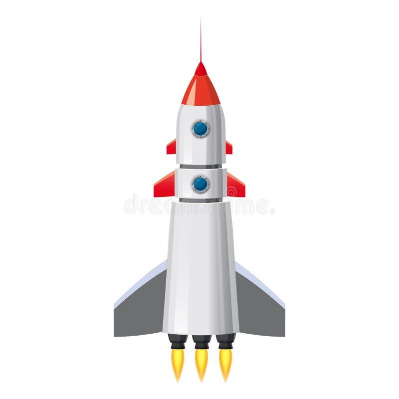 Raket ruimteschip, geïsoleerde vectorillustratie Eenvoudig retro ruimteschippictogram Beeldverhaalstijl, op witte achtergrond, af stock illustratie
