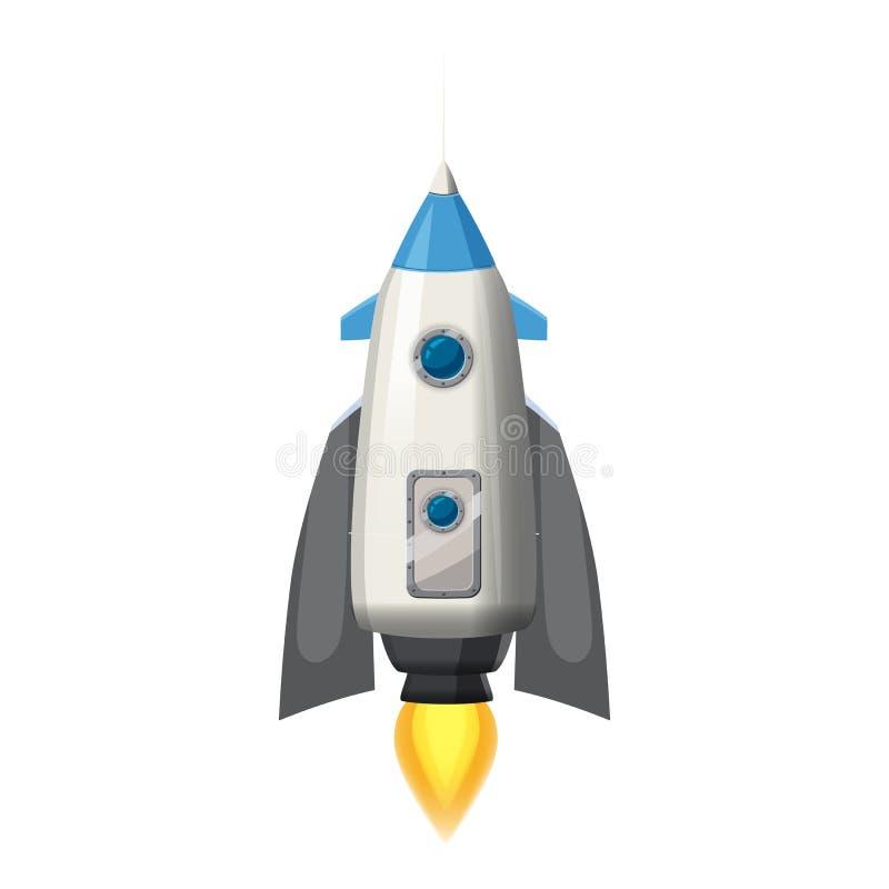 Raket ruimteschip, geïsoleerde vectorillustratie Eenvoudig retro ruimteschippictogram Beeldverhaalstijl, op witte achtergrond, af vector illustratie