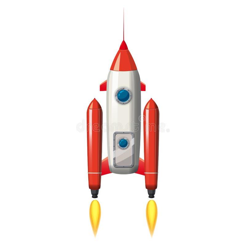 Raket ruimteschip, geïsoleerde vectorillustratie Eenvoudig retro ruimteschippictogram Beeldverhaalstijl, op witte achtergrond, af royalty-vrije illustratie