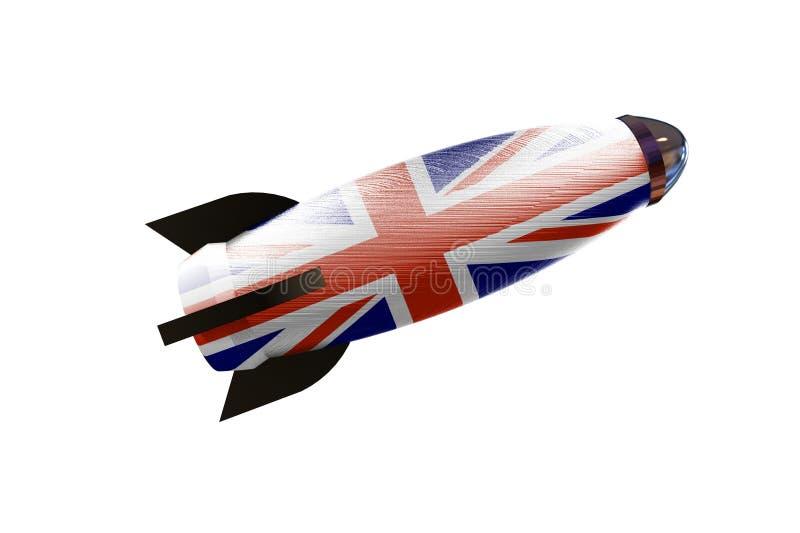 Raket ruimteschip met Britse vlag 3D illustratie vector illustratie