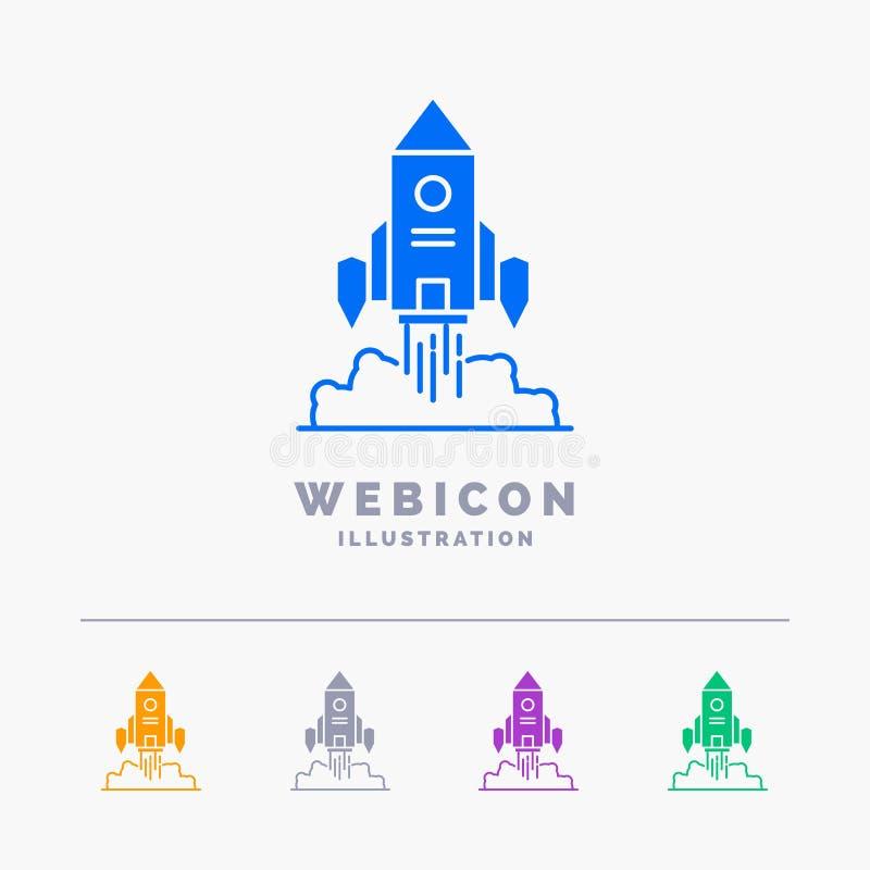 Raket, ruimteschip, opstarten, lancering, Spel 5 het Malplaatje van het het Webpictogram van Kleurenglyph dat op wit wordt geïsol stock illustratie