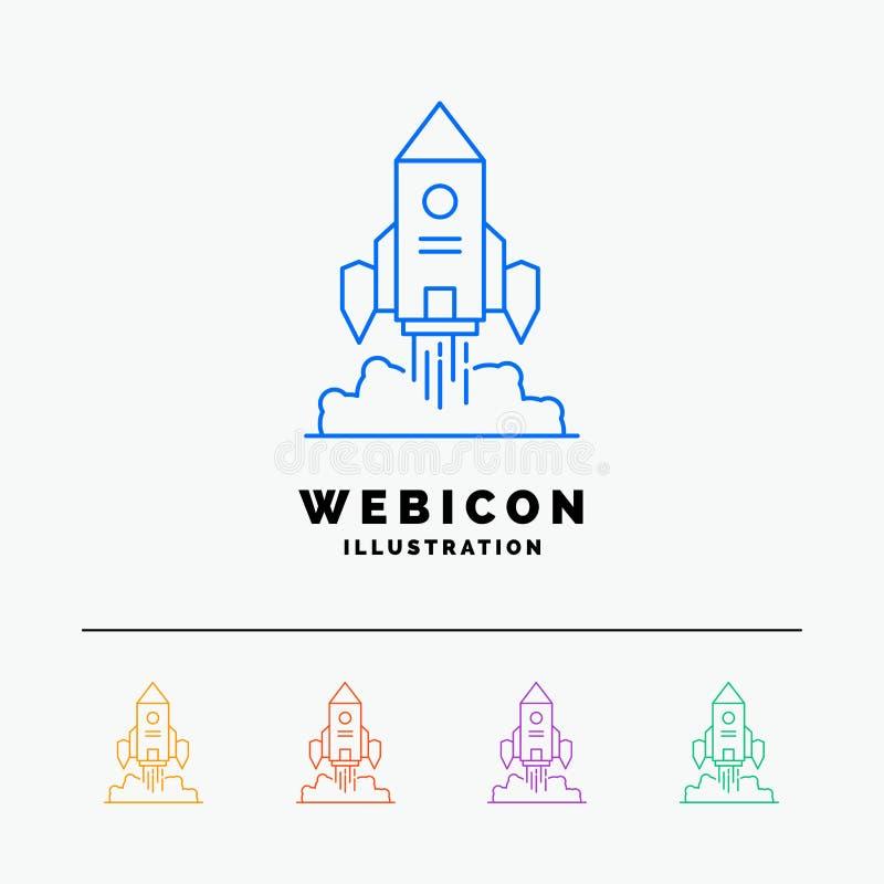 Raket, ruimteschip, opstarten, lancering, Spel 5 het Pictogrammalplaatje van het Rassenbarrièreweb op wit wordt geïsoleerd dat Ve royalty-vrije illustratie