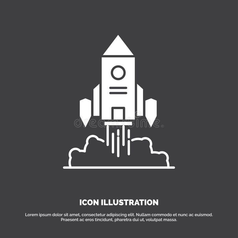 Raket, ruimteschip, opstarten, lancering, Spelpictogram glyph vectorsymbool voor UI en UX, website of mobiele toepassing vector illustratie