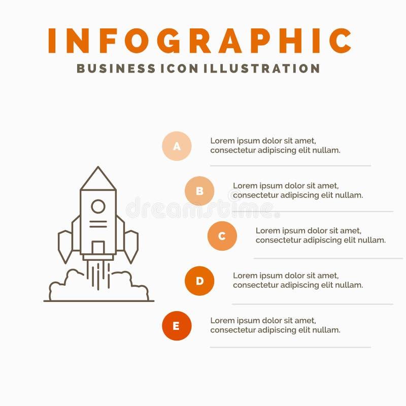 Raket, rymdskepp, start, lansering, modig Infographics mall f?r Website och presentation Linje gr? symbol med apelsinen royaltyfri illustrationer