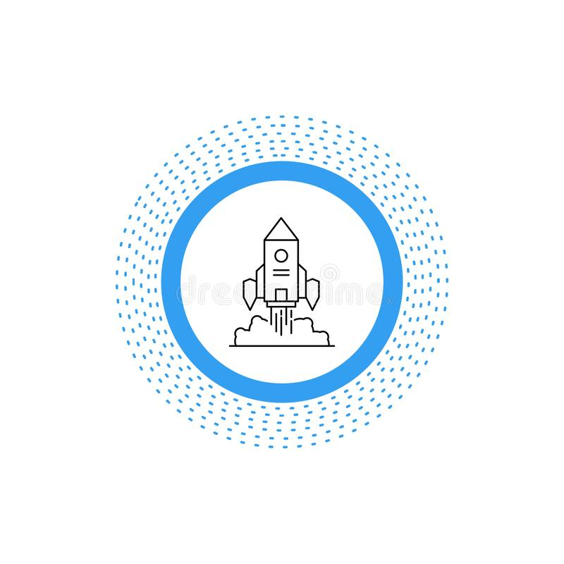 Raket rymdskepp, start, lansering, modig linje symbol Vektor isolerad illustration stock illustrationer