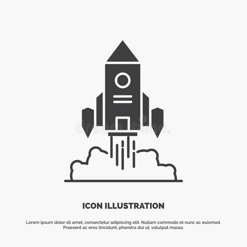 Raket rymdskepp, start, lansering, modig symbol gr?tt symbol f?r sk?ravektor f?r UI och UX, website eller mobil applikation royaltyfri illustrationer