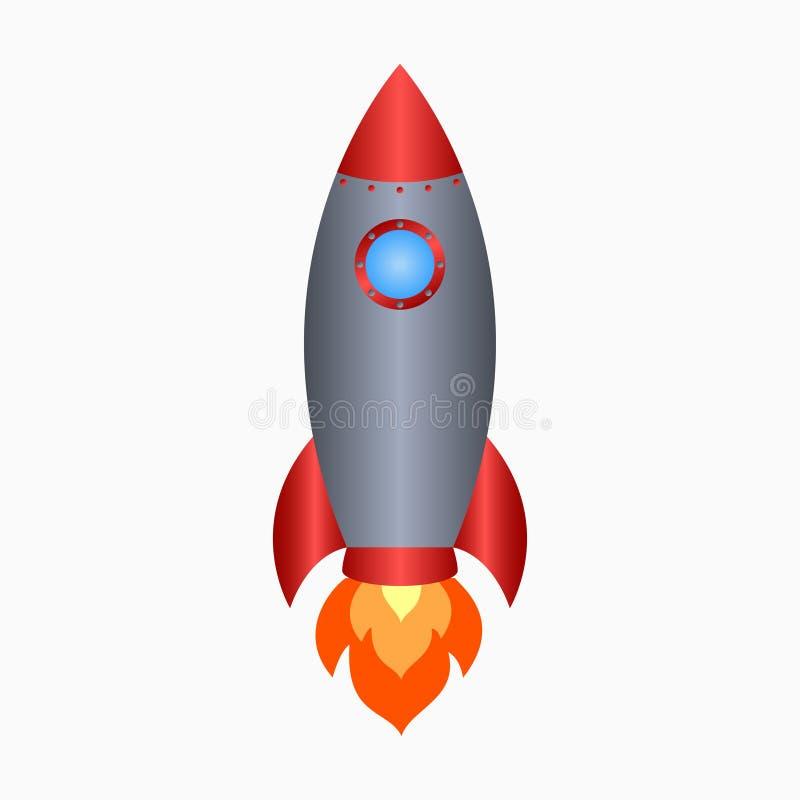 raket Rymdskeppet tar av med brand Kulör symbol för utrymmeskepp vektor royaltyfri illustrationer