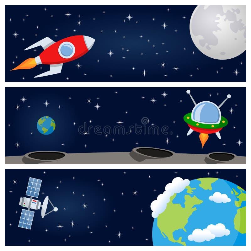 Raket & satellit- horisontalbaner stock illustrationer