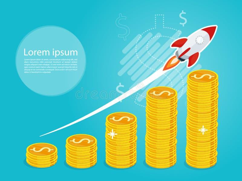 Raket snelle startlancering, het groeien de grafiek van de bedrijfs de groeistap, vector van de bedrijfs de gouden muntstukvlag royalty-vrije illustratie