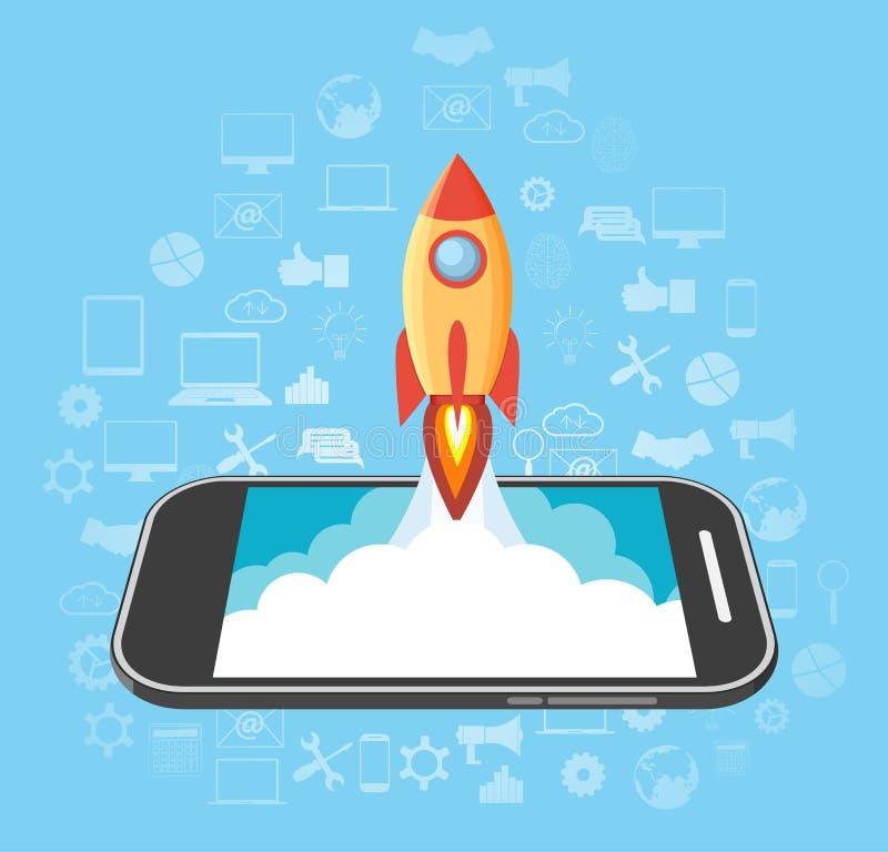 Raket som lanseras från telefonen royaltyfri illustrationer
