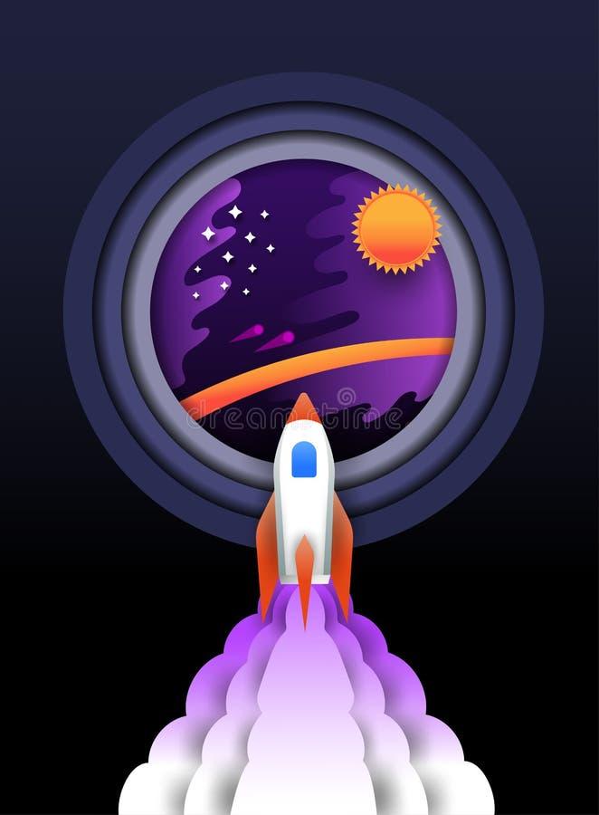 Raket som reste f stock illustrationer