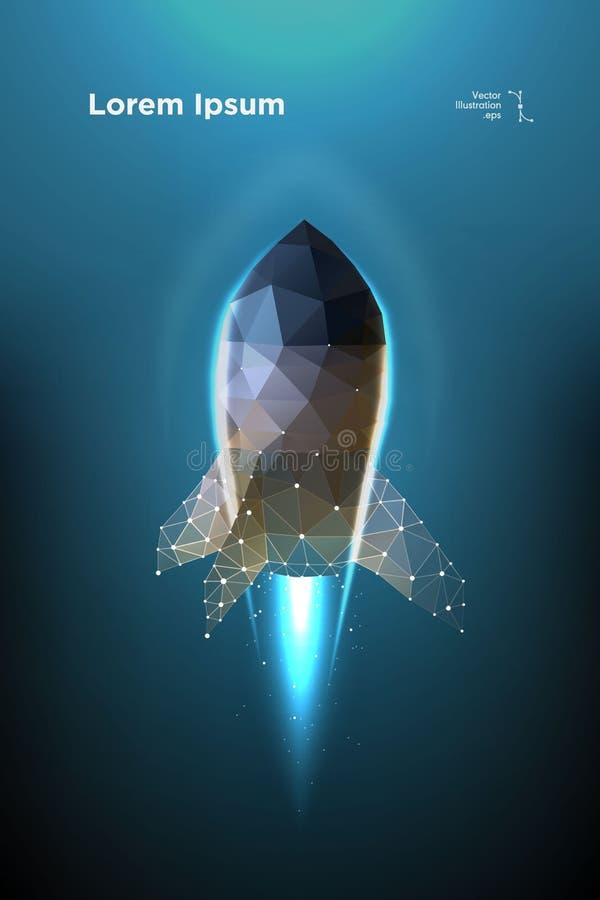 raket Starta rymdskeppet Startrymdskepp Illustrationen utförs i form av partiklar, geometrisk konst royaltyfri bild