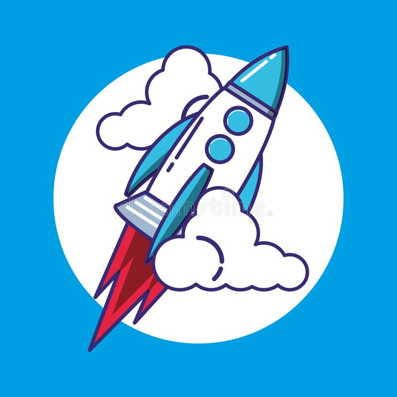 Raket startar upp symbolen stock illustrationer