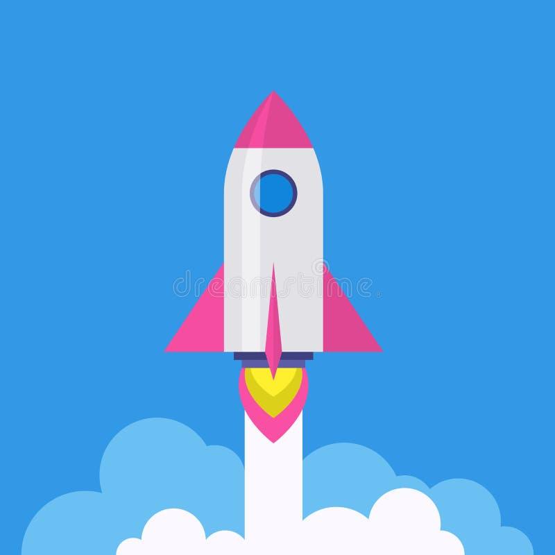 Raket - startup lanseringssymbol för vektor vektor illustrationer