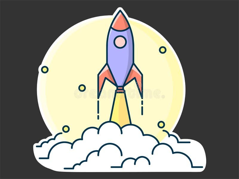 raket tar av att lämna bak honom pusta av rök, begreppet av en start och idéer royaltyfri illustrationer
