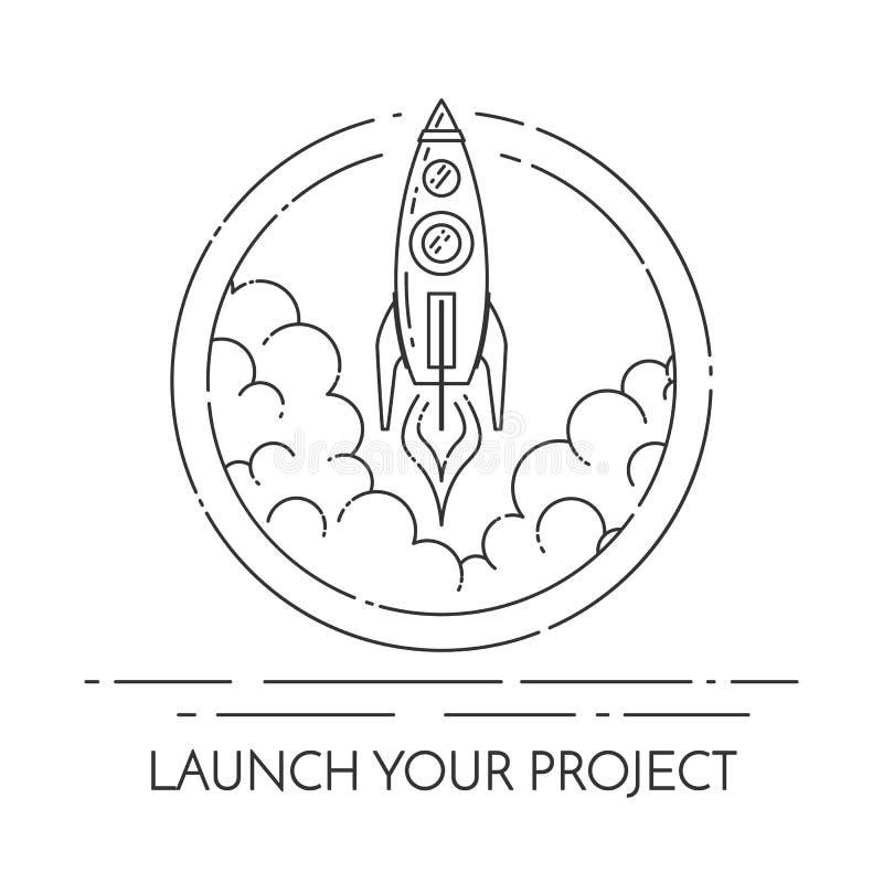 Raket tar av begreppet för ny affärsprojektstart royaltyfri illustrationer