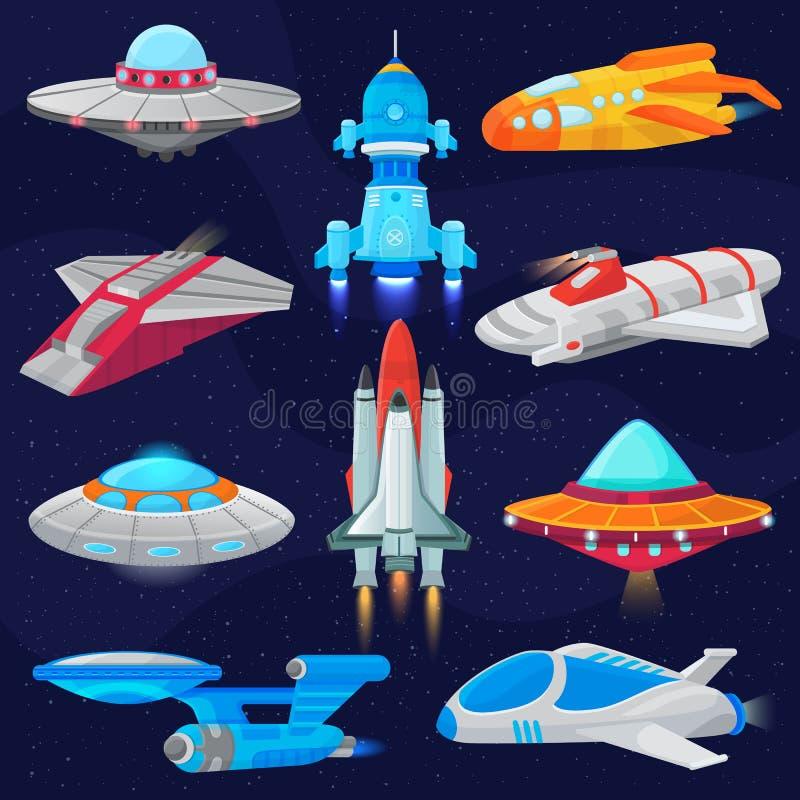 Raket vectorruimteschip of ruimtevaartuig en de illustratiereeks van spacyufo van uit elkaar geplaatst schip of rocketship in hee vector illustratie