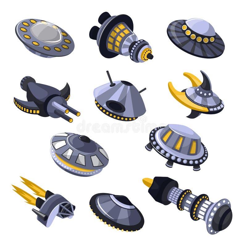 Raket vectorruimteschip of ruimtevaartuig en de illustratiereeks van spacyufo van uit elkaar geplaatst schip of rocketship in hee royalty-vrije illustratie