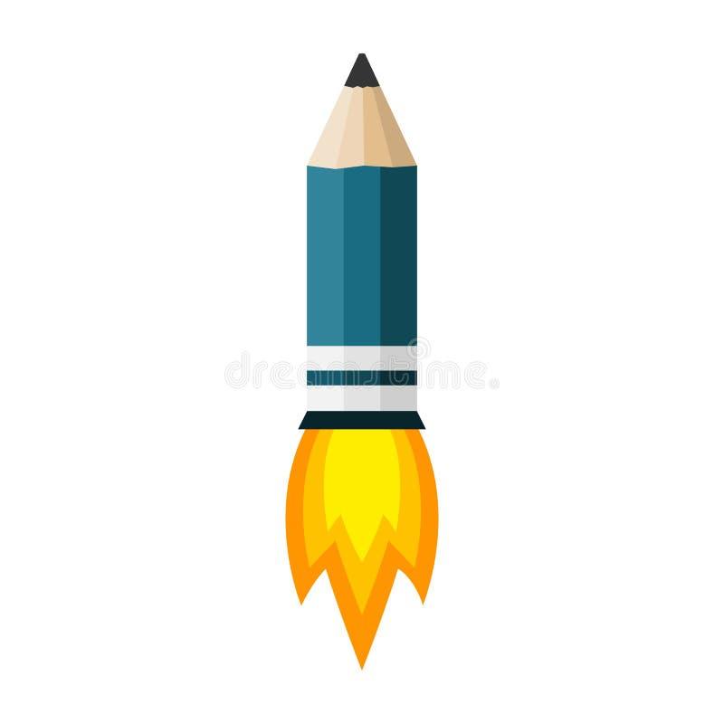Raketblyertspenna med brand också vektor för coreldrawillustration royaltyfri illustrationer