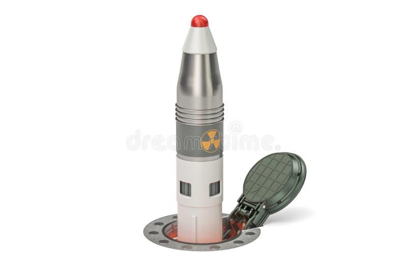 Rakete startet von seiner Untertagesilostarteinrichtung, 3D r lizenzfreie abbildung