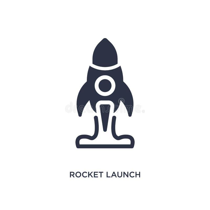 Raketenstartikone auf weißem Hintergrund Einfache Elementillustration vom Benutzerschnittstellenkonzept lizenzfreie abbildung
