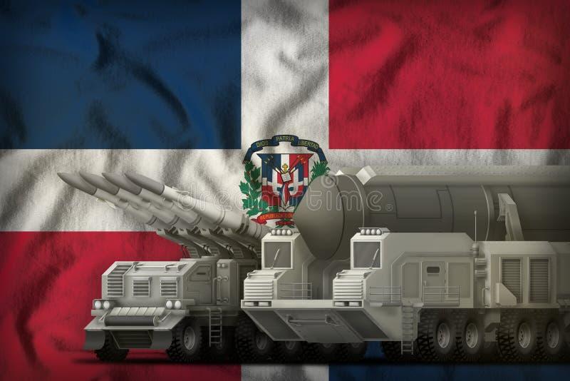 Raketentruppenkonzept der Dominikanischen Republik auf dem Staatsflaggehintergrund Abbildung 3D stock abbildung