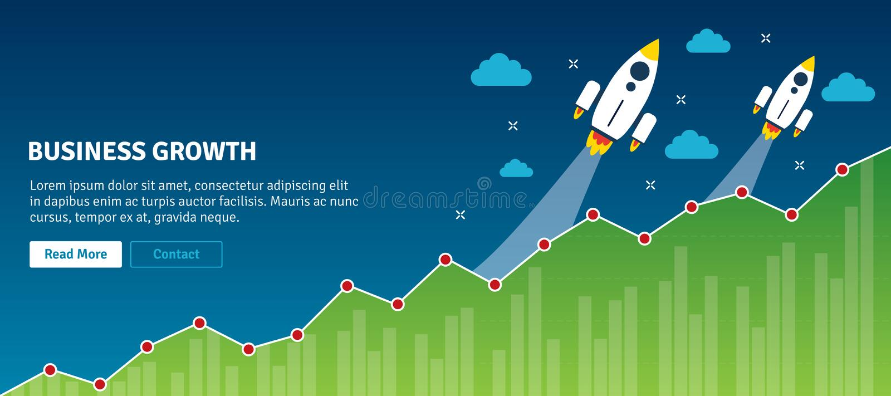 Raketflyg på diagram av tillväxt Räcka att peka affär kartlägger stock illustrationer