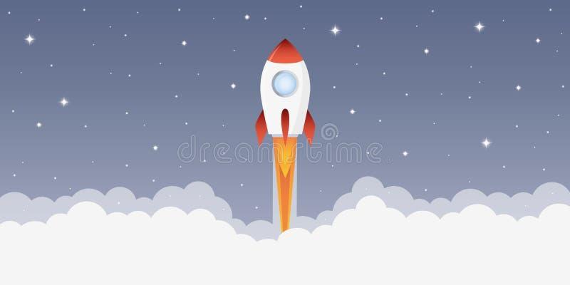 Raketlancering in ruimte met sterrige hemel vector illustratie