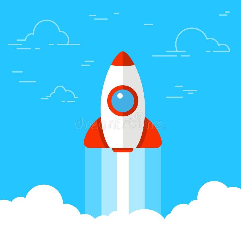 Raketlancering, schip Concept de aanvang van of de lancering van nieuwe zaken opstarten Vlakke vectorillustratie stock illustratie