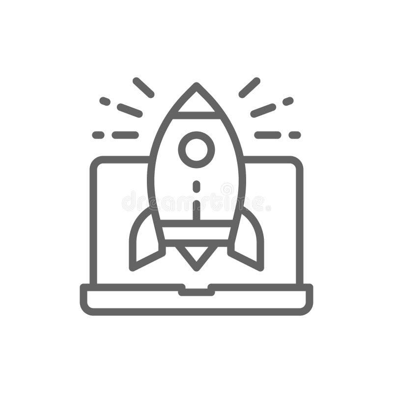 Raketlancering van laptop, startlijnpictogram royalty-vrije illustratie