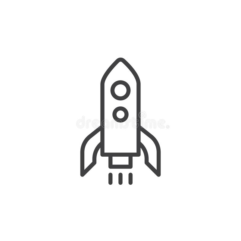 Raketlanseringslinje symbol vektor illustrationer
