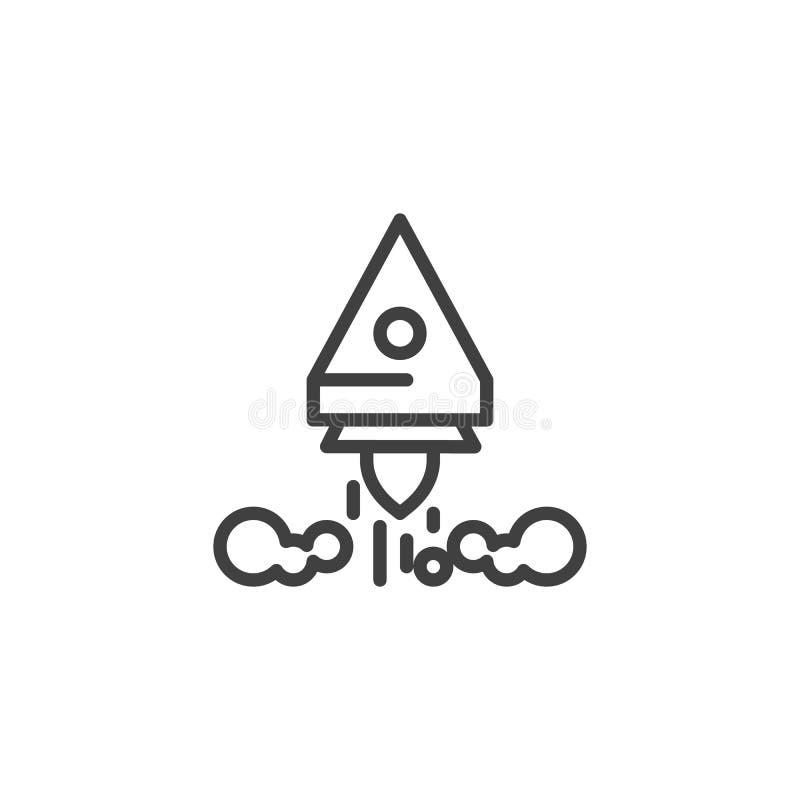 Raketlanseringslinje symbol stock illustrationer