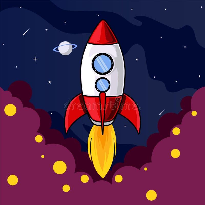 Raketopstarten aan ruimteillustratie vector illustratie