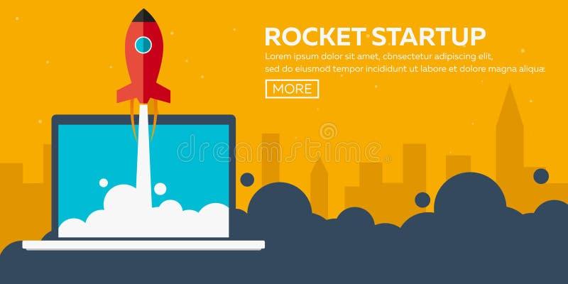 Raketopstarten Zaken Raketschip in een vlakke stijl Vector illustratie Ruimtevaart aan de maan Ruimteraketlancering Project s royalty-vrije illustratie