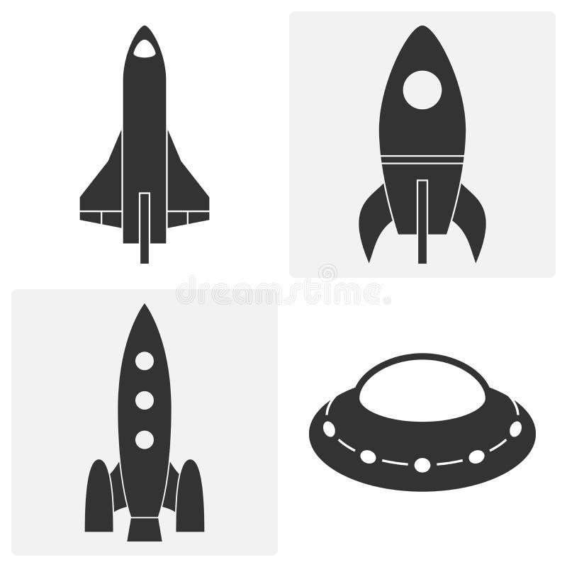Raketpictogrammen Reeks vectorillustraties royalty-vrije illustratie