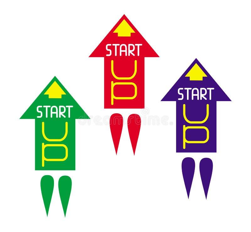 3 raketpilar tar av med ordstarten Metafor av affären vektor stock illustrationer