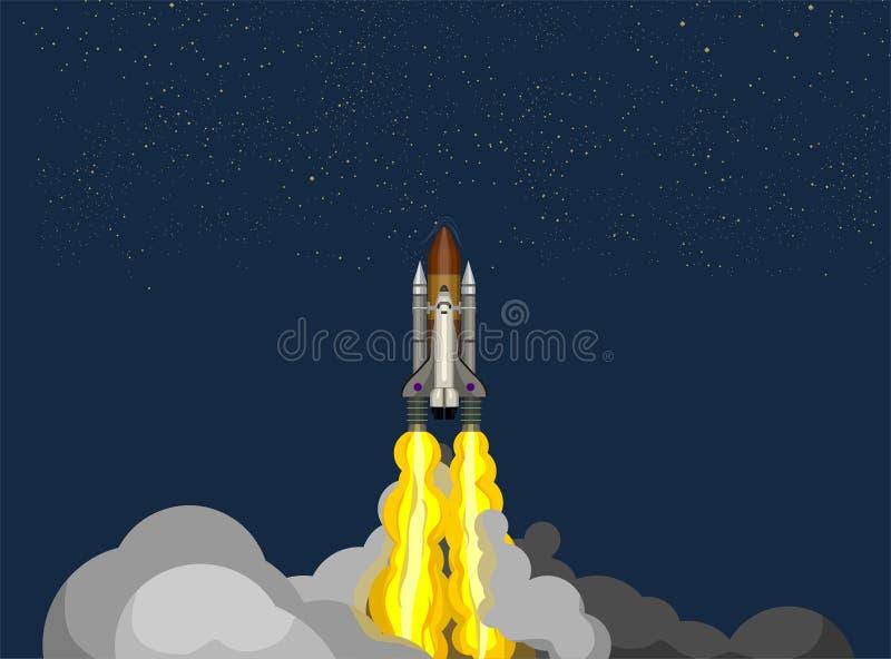 Raketschip in een vlakke stijl Ruimteraketlancering met de in vlakke wolken van de stijlrook Projectopstarten vector illustratie