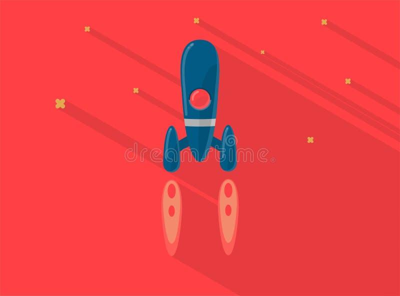 Raketskepp i en plan röd stil Flyg för utrymmeraket i utrymme med moderiktiga plana stjärnor Projektet startar upp ocks? vektor f vektor illustrationer