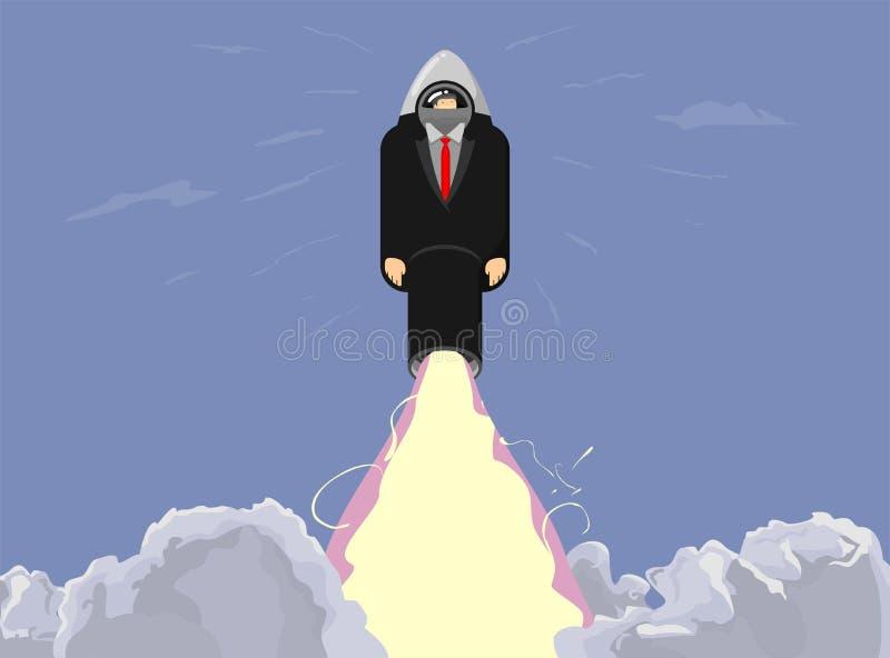 Raketskepp i en plan stil Astronautraketlansering med moderiktiga moln för affärsstilrök Projektet startar upp ocks? vektor f?r c vektor illustrationer