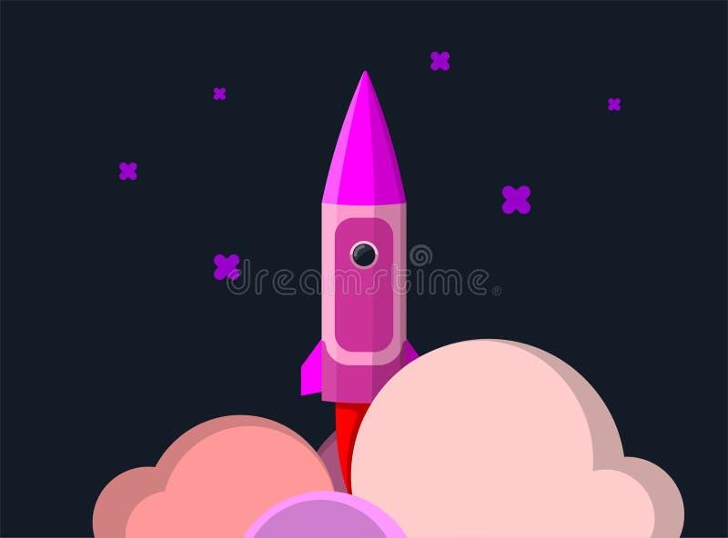 Raketskepp i en plan stil Lansering för utrymmeraket med moderiktiga plana stilrökmoln Projektet startar upp stock illustrationer
