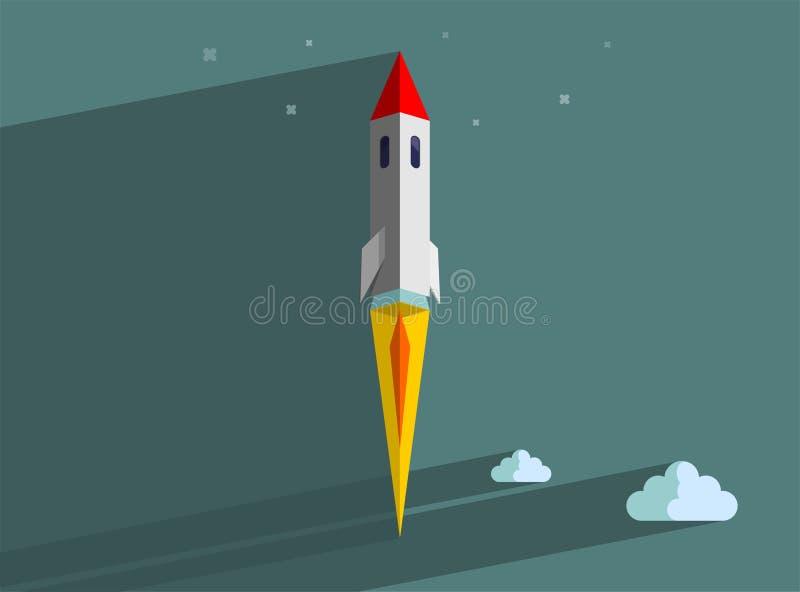 Raketskepp i en plan stil Lansering för utrymmeraket med moderiktiga plana stilrökmoln Projektet startar upp royaltyfri illustrationer