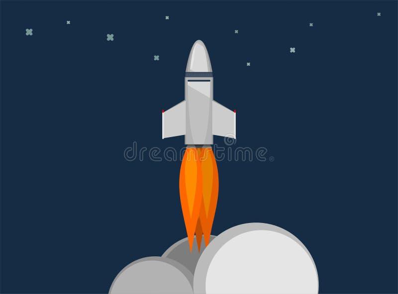 Raketskepp i en plan stil Lansering för utrymmeraket med moderiktiga plana stilrökmoln Projektet startar upp också vektor för cor stock illustrationer