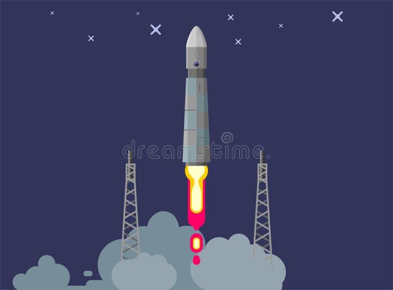 Raketskepp i en plan stil Lansering för utrymmeraket med moderiktiga plana stilrökmoln Projektet startar upp också vektor för cor royaltyfri illustrationer