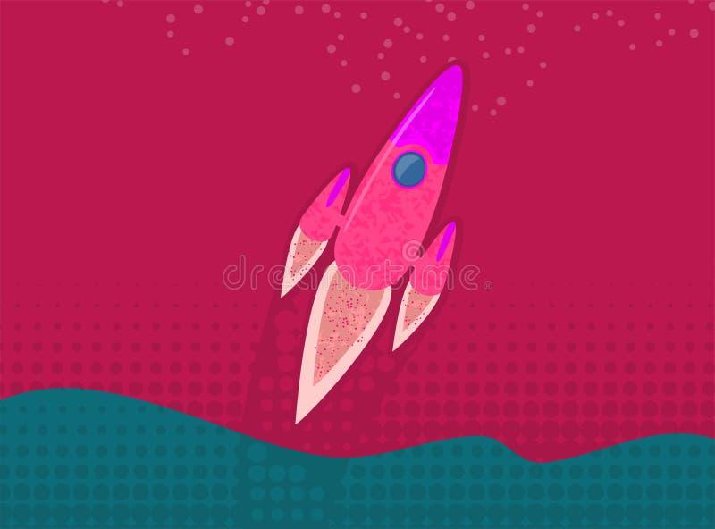Raketskepp i en plan stil Lansering för utrymmeraket med moderiktiga plana stilrökmoln Projektet startar upp också vektor för cor vektor illustrationer