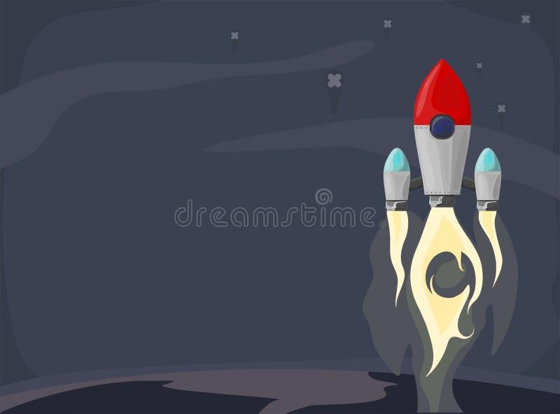 Raketskepp i en plan stil Lansering f?r utrymmeraket med moderiktiga plana stilr?kmoln Projektet startar upp ocks? vektor f?r cor vektor illustrationer