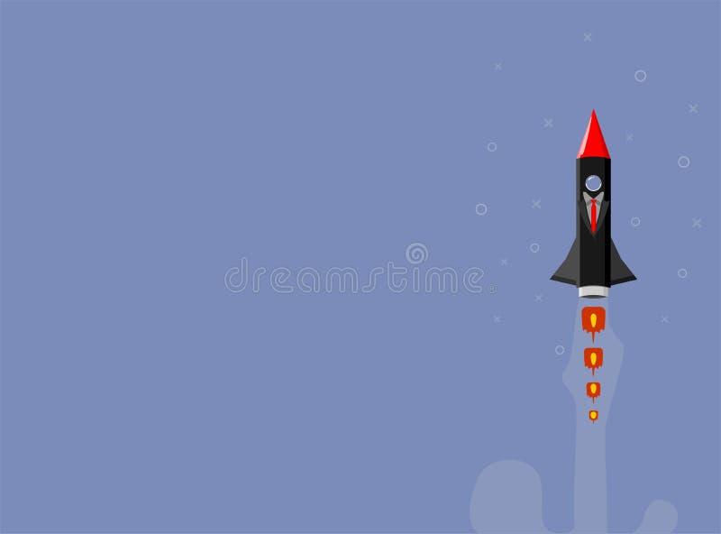 Raketskepp i en plan stil Lansering f?r utrymmeraket med moderiktiga plana stilr?kmoln Projektet startar upp ocks? vektor f?r cor stock illustrationer