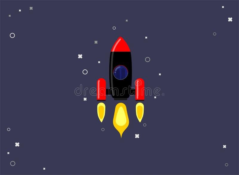 Raketskepp i en plan stil Lansering f?r utrymmeraket med moderiktiga plana stilr?kmoln Projektet startar upp ocks? vektor f?r cor royaltyfri illustrationer