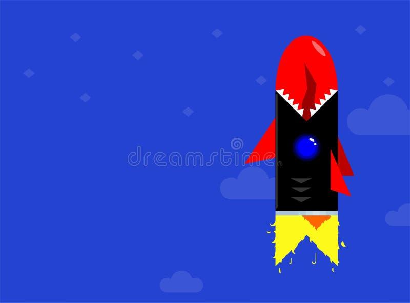 Raketskepp som hungrig hajaffär Moderiktig sikt av lanseringen för utrymmeraket Projektet startar upp ocks? vektor f?r coreldrawi royaltyfri illustrationer