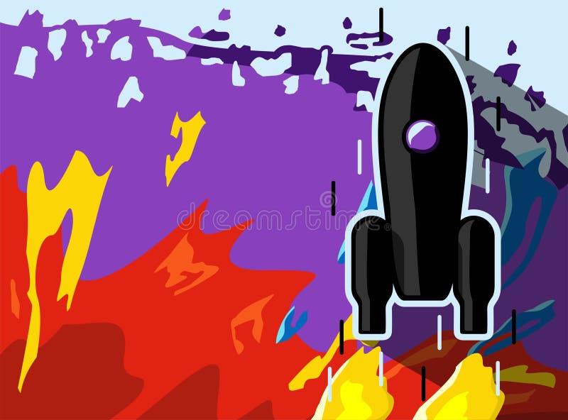 Raketskeppabstractionism Svart raketlansering för utrymme Projektet startar upp ocks? vektor f?r coreldrawillustration royaltyfri illustrationer